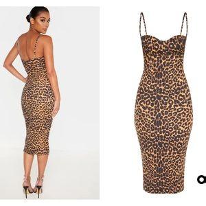 Leopard Print Strappy Cup Detail Midi Dress